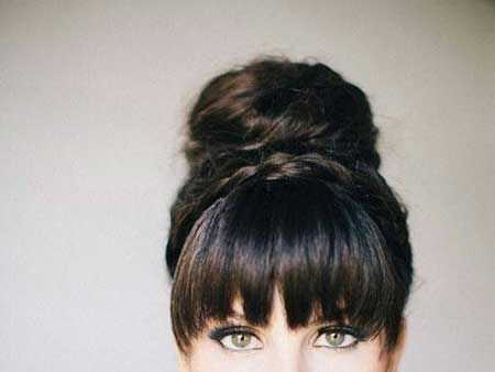 High Bun with Short Bangs at Front
