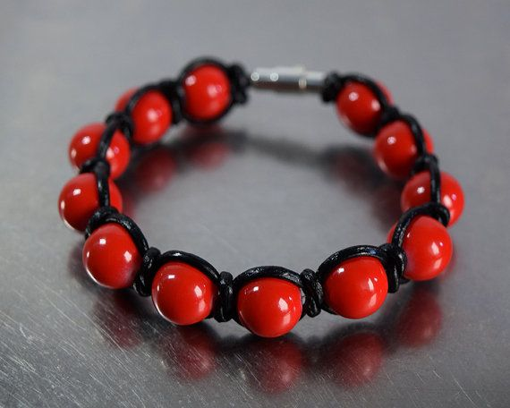 Red beads - black leather wrap bracelet