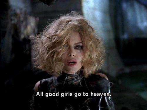 Meow          All good girls go to heaven.  Michelle Pfeiffer as Catwoman in Batman Returns  via lovewalk: excerptsfromspace
