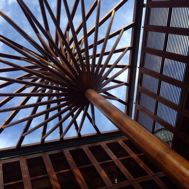 Maastricht shopping area wooden pillars pattern