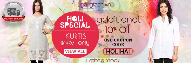 """!!! OFF ON OFFER !!! Delivery in 24 hrs. Guaranteed... Additional 10% off on (open image for coupon code) """"Special Holi Festival Kurtis @149/- only"""" from gargfashion.com *Limited Stock available. Whatsapp on - """"7046181337"""" Mail id - info@gargfashion.com Click here for get this offer.. http://gargfashion.com/Indian-Wear/Kurtis-c110c113.html"""