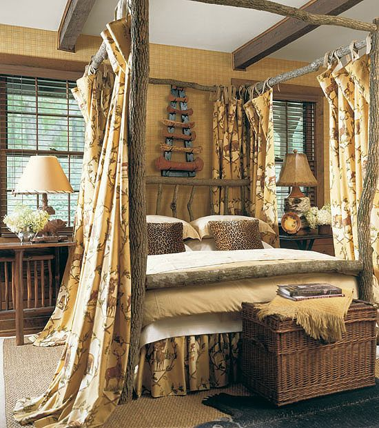 Seriously feeling the canopy bed with curtains, what a sweet hideaway!!! Gotta find some great old porch posts with character...