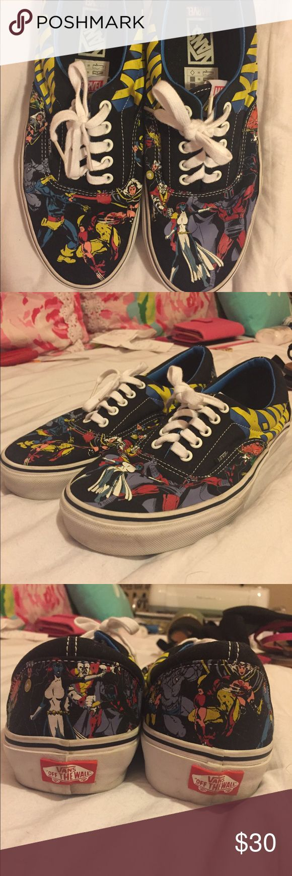 Marvel X-Men Vans Skate Shoes! Marvel X-Men Vans Skate Shoes! These are my favorite pair of shoes ever, but they don't fit. They're advertized as a size Men's 10 (Women's 11.5), but they were very tight, so I am going to say that they would best fit a Men's 8-9 (Women's 10-11). Bought used from eBay for a STEAL and never wore myself. LIMITED EDITION! A little ditty around the edges, but print itself and laces look perfect. Price is negotiable! Questions? Need more photos or measurements?…