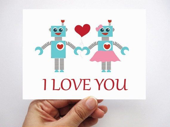 SALE Set of 6 I love you robot in love card  by Mariapalito, $11.50