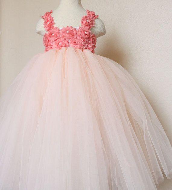 Petal peach Coral tutu dress Flower Girl Dress baby dress