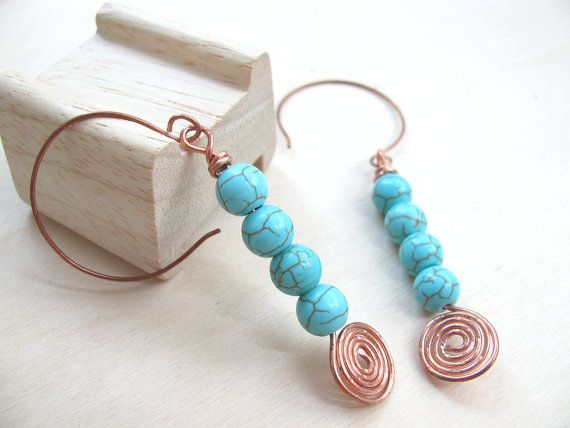 Turquoise earrings Copper Turquoise beads Handmade copper earwires  Turquoise December birthstone Turquoise jewelry