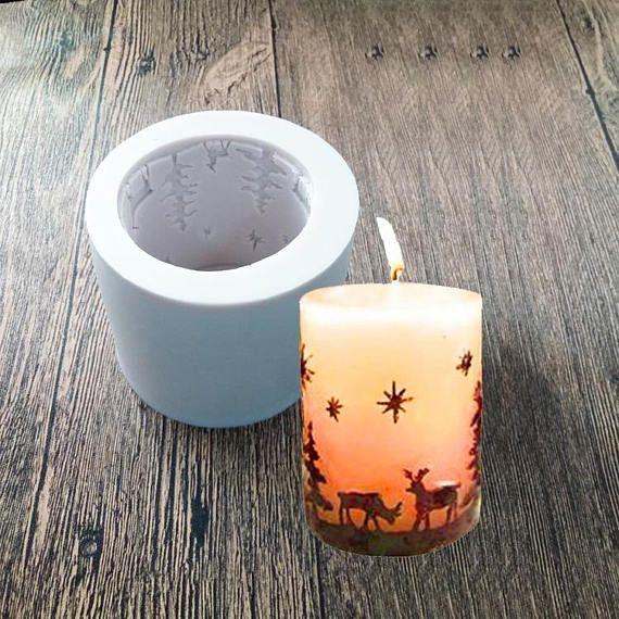 3D Christmas Cylinder Silicone Candle Soap Mold Fondant Cake Chocolate Decor