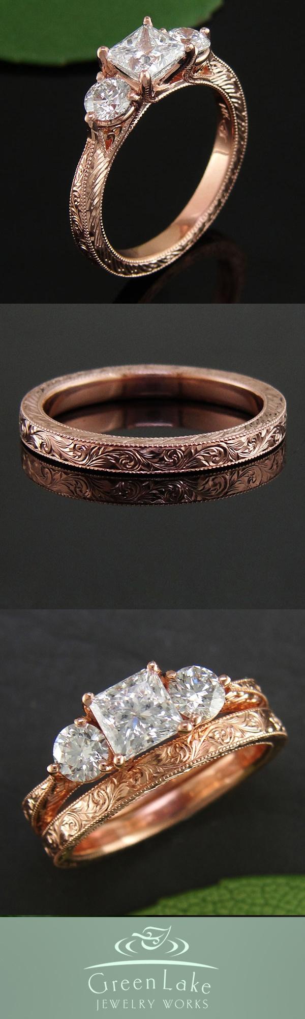 Wedding Set  Estateinspired Wedding Set In Rose Gold With Masterful  Engraving Worked Into