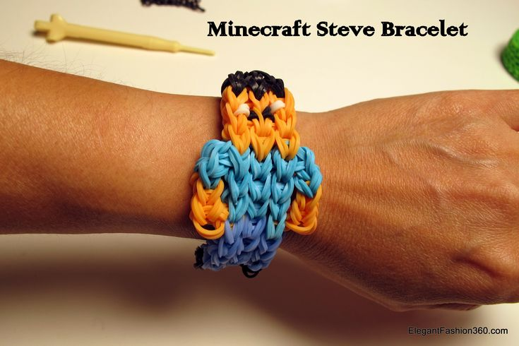 Rainbow Loom Minecraft Steve figure and bracelet tutorial and photos