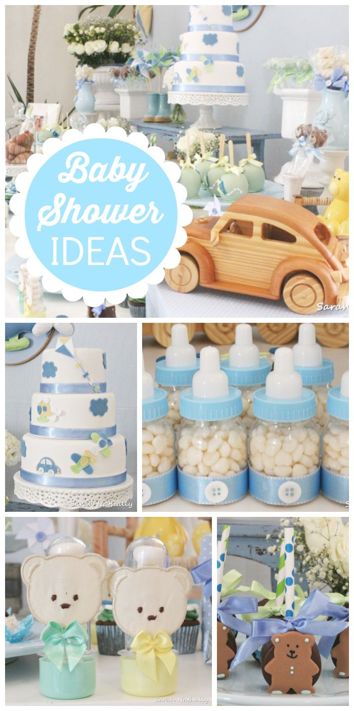 This blue baby boy shower has candy filled bottles, teddy bears and a cute cake! See more party ideas at CatchMyParty.com!