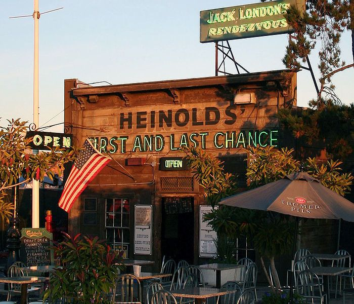 Heinhold's First And Last Chance Saloon near Jack London Square in Oakland, CA. Heinold's is the last commercial establishment anywhere in California that still uses its original gas lighting. The tables and other furnishings still date back to that old whaling ship from which the site was built. To this day, Heinold's still houses the original potbellied stove used to warm the room; it's been the establishment's only source of heat since 1889.