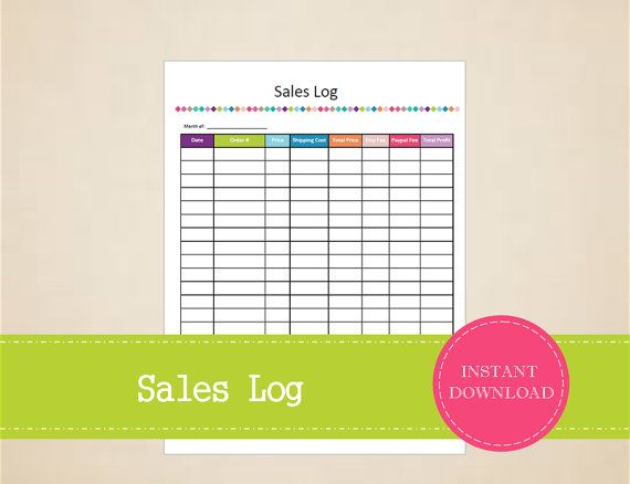 Etsy Shop Sales Log  Business Planner  by MBucherConsulting