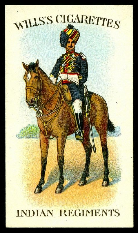 """#42 Risaldar (Native Captain) Babnaghar Lancers - Will's """"Scissors"""" Cigarettes -""""Indian Regiments"""" (series of 50 issued in 1912) 