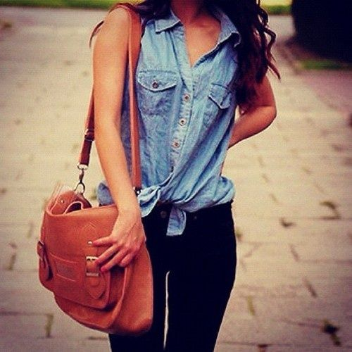 cute jean shirt with black jeans and cute side bag.