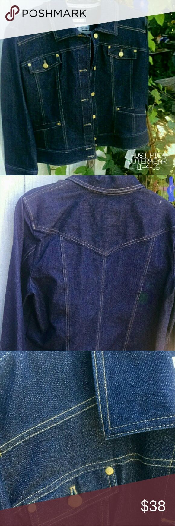 """Final Price Jones Wear Studio Denim Jacket NWT A very nicely tailored denim long sleeve jacket. All seams are finished with binding. No raw seams. Beautiful signature gold buttons ... great with dresses, skirts and jeans.  NWT.  PRICE FIRM EXCEPT IF BUNDLED  Pit to pit 22"""" Sleeve length 24.5"""" Back length not including collar 23""""  75% Cotton 23% polyester  2%  spandex  Machine wash & line dry  Smoke free/ pet friendly home Jones Wear Studio Jackets & Coats Jean Jackets"""