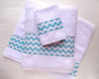 Set of 3 Coral Chevron Towels hand towels chevron by AugustAve