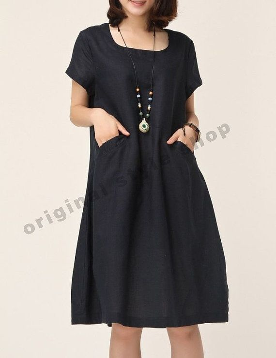 Dark Blue linen dress cotton dress casual by originalstyleshop, $55.00