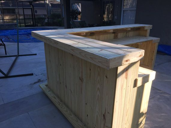 Kitchen L Shaped 2 Level 8 X 6 Rustic Real Pressure Etsy Outdoor Patio Bar Patio Bar Rustic Outdoor Bar