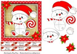 Cute White Teddy With Lolly 7x7 on Craftsuprint - View Now!