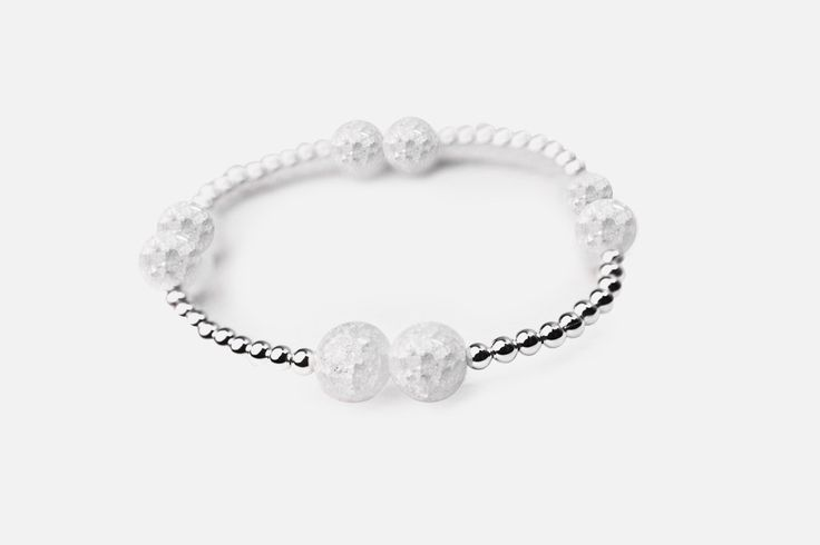 Beaded Crystal Quartz Bracelet Sterling Silver