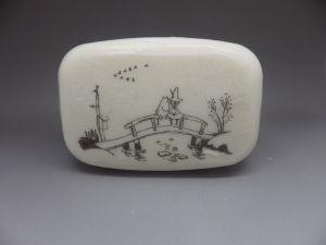 Włóczykij i Muminek na mostku, Włóczykij (klasyczny), Muminki, decoupage na mydle, soap decoupage