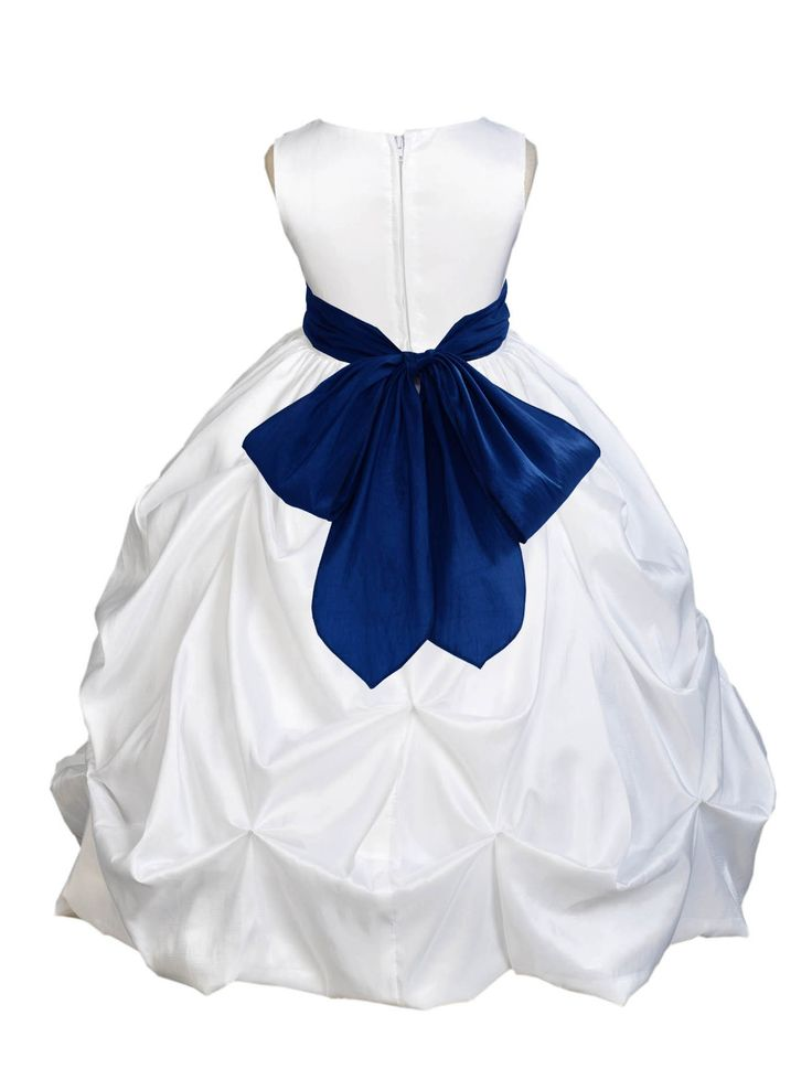White Formal Bridesmaid Beauty Pageant Special Occasions Bubble Taffeta Flower Girl Dress 301s1