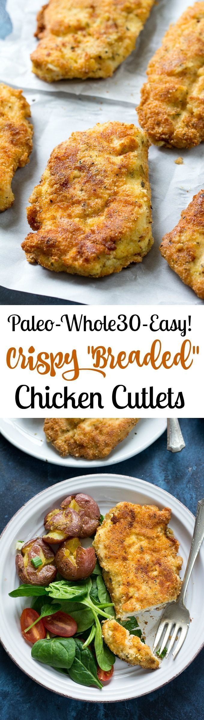 """My family's favorite """"breaded"""" Paleo Chicken Cutlets that are super easy, quick, and just as good as the original.  Whole30 compliant and kid friendly - you can put these on you """"go-to"""" dinner list!"""