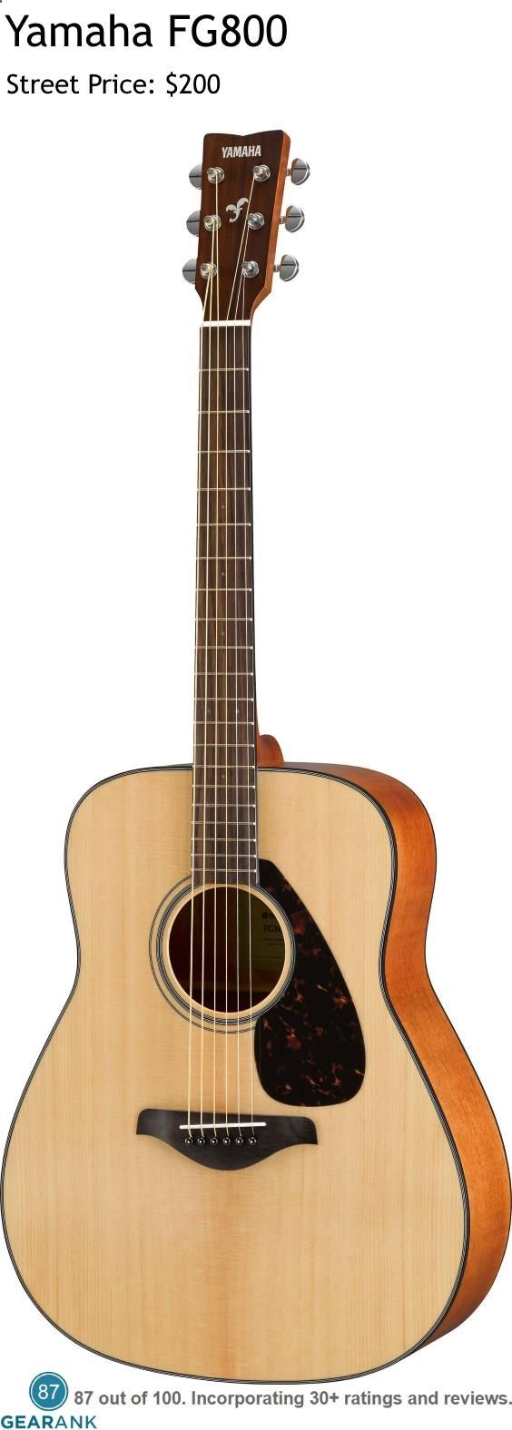 Yamaha FG800 Acoustic Guitar. At this price the FG800 offers excellent value with a Solid Spruce Top and Nato/Okume Back & Sides. For a Detailed Guide to The Best Acoustic Guitars see www.gearank.com/...