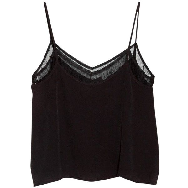 Mango Double Layer Vest Top, Black found on Polyvore