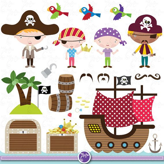 Pirate Clipart Clip Art Set cute pirate, pirate clip art for perfect for Scrapbook, Cards, Invitations,Personal and Commercial Use Ch003