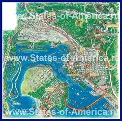 Подробная туристическая карта города Сан-Диего