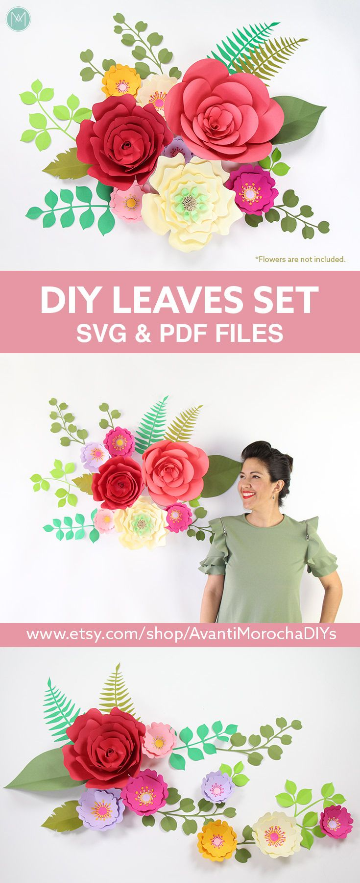 DIY Giant Paper Flowers - Leaves set | SVG and PDF files. Set de hojas de flores gigantes.