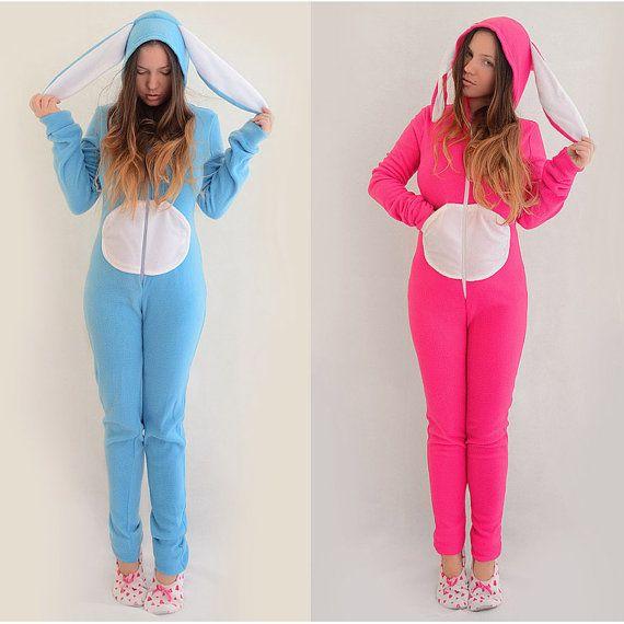 Animal Kigurumi Adult Fleece Bodysuit Pajamas Bunny