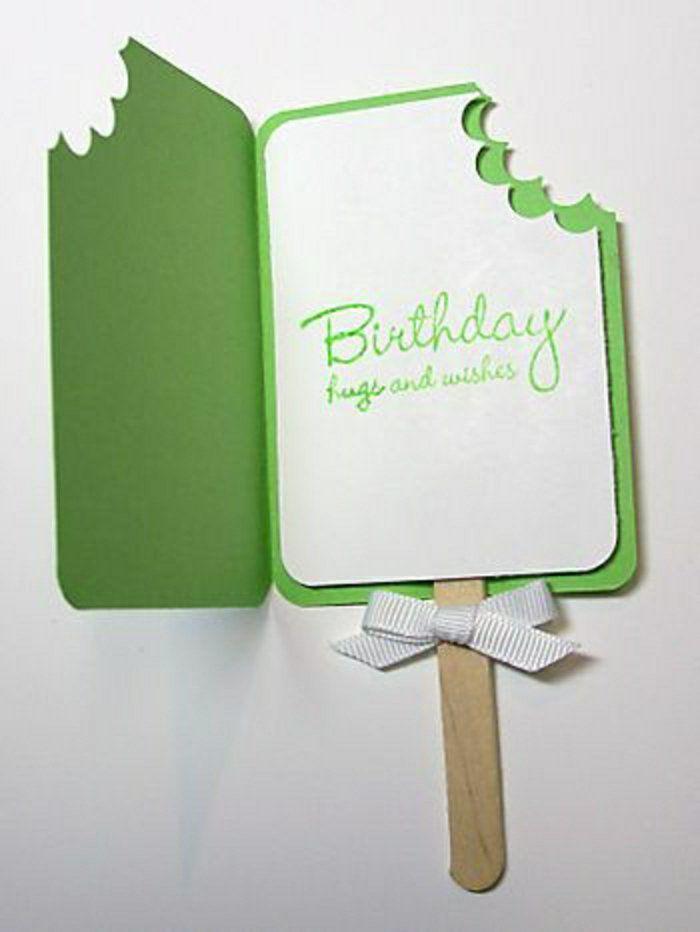 carte d'anniversaire en forme de glace, carte invitation anniversaire