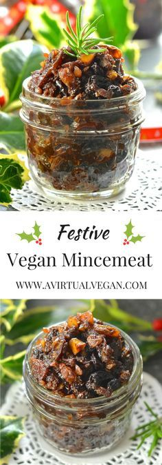 Festive, rich & fruity Vegan Mincemeat steeped in boozy deliciousness! via @avirtualvegan (use unsweetened apple juice for non-alcoholic version)