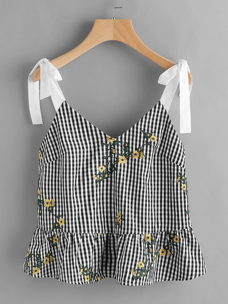 Shop Sash Tie Shoulder Blossom Embroidered Ruffle Gingham Top online. SheIn offers Sash Tie Shoulder Blossom Embroidered Ruffle Gingham Top & more to fit your fashionable needs.