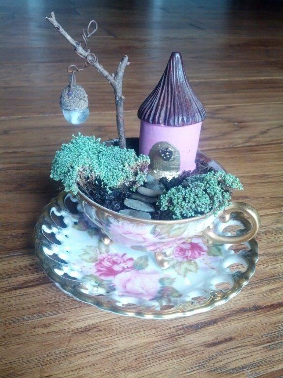 17 Best Images About Fairy Garden Tea Cups On Pinterest