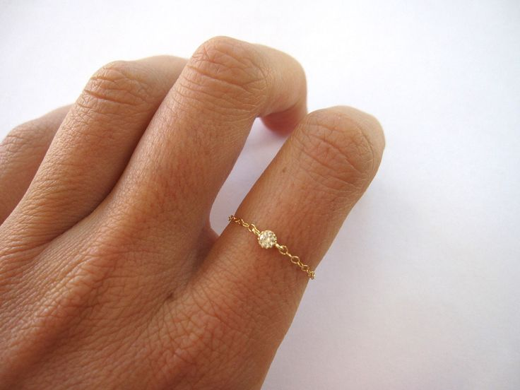 delicate ring // 14k gold filled chain and tiny cz diamond. $38.00, via Etsy.