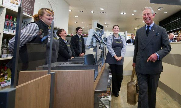 No royal checkout lane here! Prince Charles left Waitrose supermarket in 2011 with a bag filled with produce.