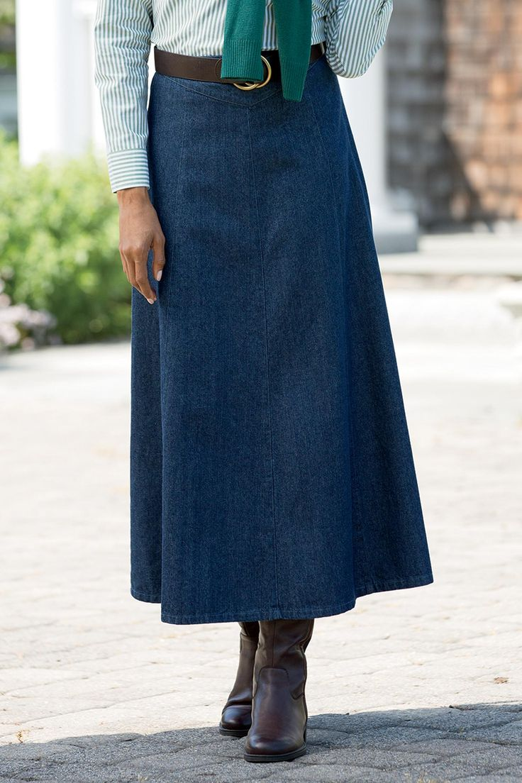 Easy-to-wear casual jean skirt in a long, flattering A-line silhouette.