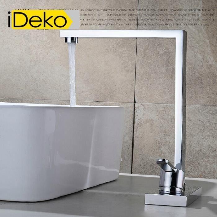 iDeko® Robinet Mitigeur lavabo salle de bain vasque en laiton Série modèle céramique  Specification  Modèle de fonction :Mitigeur réglable (Froid /Chaud) Modèle d'installat