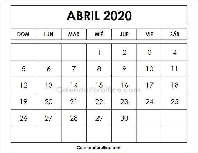 April 2020 Calendar Spanish Imprimir