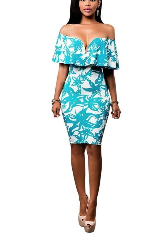 182dfac145ac White Floral Ruffle Print Off Shoulder Midi Dress
