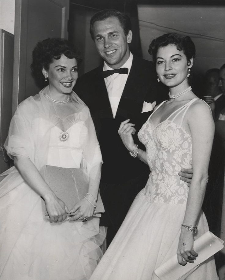 Kathryn Grayson, Howard Keel and Ava Gardner at the premiere of ShowBoat