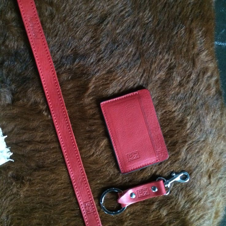 Red accessories.  Wallet 21,5 € Keychain 9 € Strap for sunglasses 21,5 €