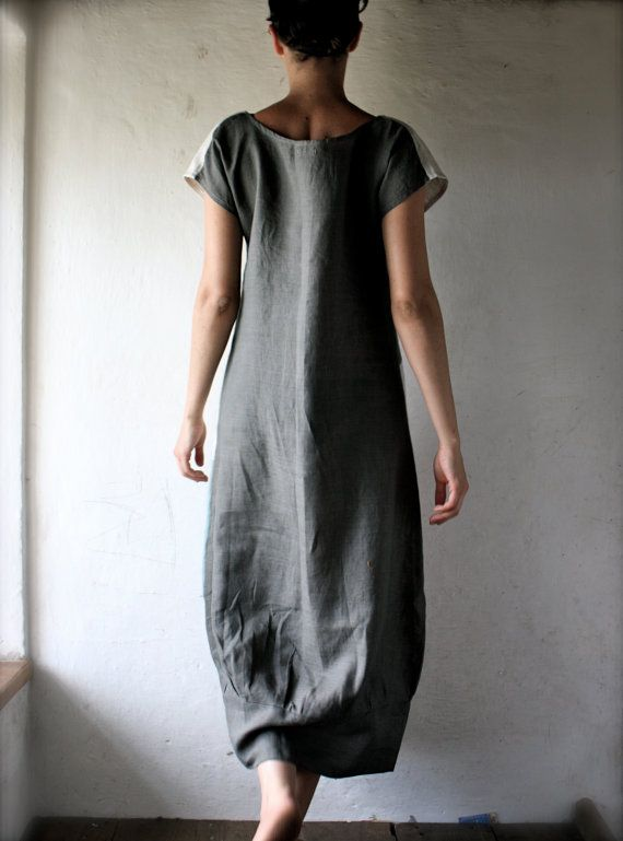 Linen+Tunic+dress+in+patchwork+linen++grey+and+white+by+larimeloom