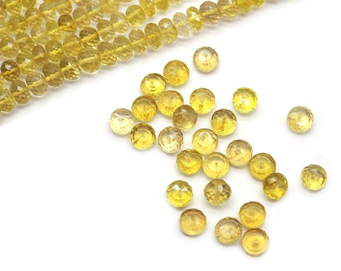 Lemon Topaz Faceted Beads, Round Beads, Gemstone Beads, Rondelle Beads, Jewelry Making Supplies GemMartUSA (DRLT-70001)