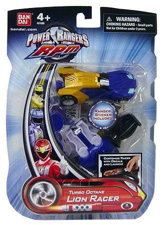 Amazon.com : Power Rangers RPM Turbo Octane Zord Blue Lion Racer : Toy Figures : Toys & Games