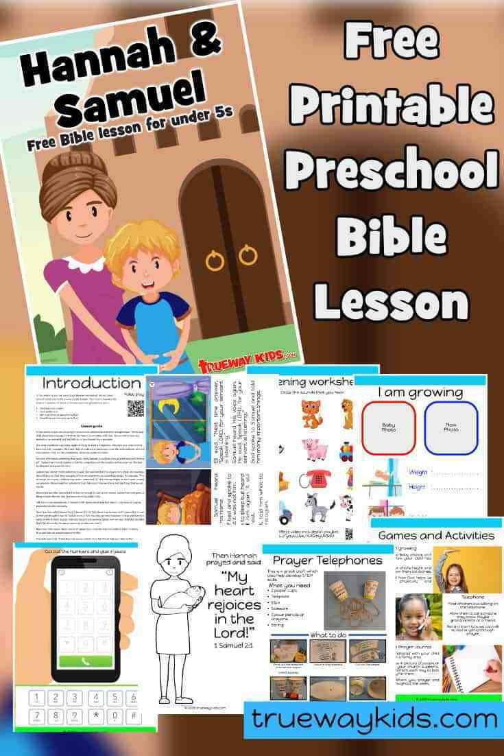 Free Printable Bible Lesson Learn About Prayer Included Printable Hannah And S Preschool Bible Lessons Bible Lessons For Kids Preschool Sunday School Lessons