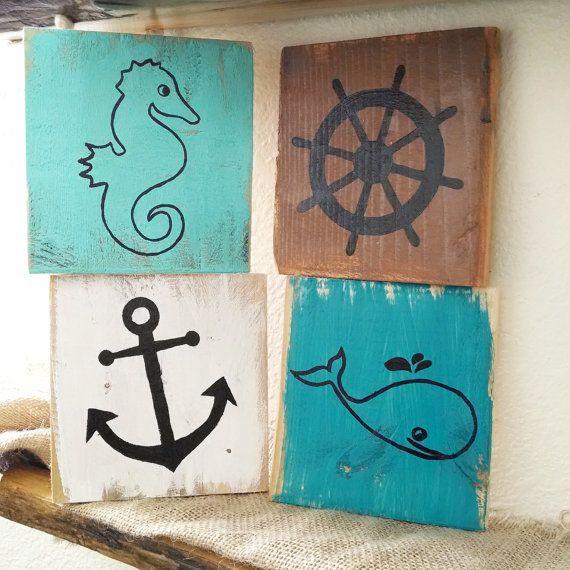 Rustic nautical pallet board art  ocean signs by EdisonAvenue